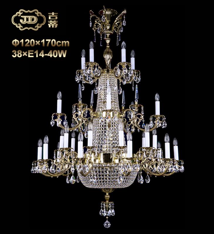 水晶吊灯 捷克厂家直销原装进口38头全铜吊篮灯 Y79999 会员优惠