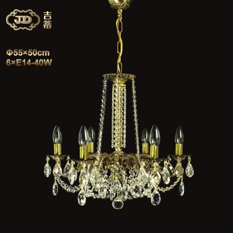 水晶吊灯 捷克厂家直销原装进口餐厅卧室书房6头水晶吊灯