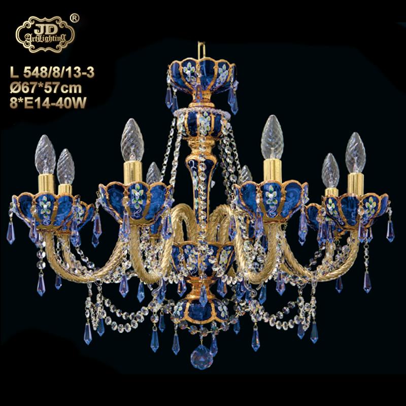 捷克工艺蓝色水晶灯餐厅卧室书房水晶吊灯¥20599元 会员优惠